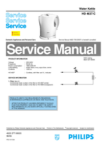 Servicehandboek Philips HD 4637/C