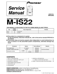 Руководство по техническому обслуживанию Pioneer M-IS22