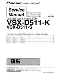 Manual de serviço Pioneer VSX-D511-K