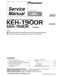 Руководство по техническому обслуживанию Pioneer KEH-1930R X1M/EW