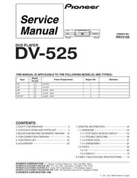 Manuale di servizio Pioneer DV-525