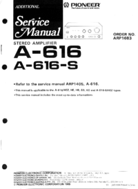 Serviço Manual Supplement Pioneer A-616