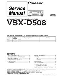 Servicehandboek Pioneer VSX-D508