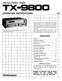User Manual Pioneer TX-9800