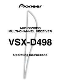 Руководство пользователя Pioneer VSX-D498