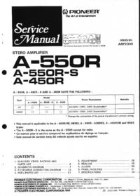 Руководство по техническому обслуживанию Pioneer A-550R
