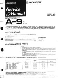 Suplemento Manual de servicio Pioneer A-9 S
