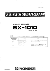 Servicehandboek Pioneer SX -1010
