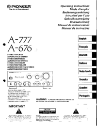 Manual del usuario Pioneer A-777