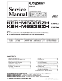 Service Manual Pioneer KEH-M6236ZH/X1B/EW