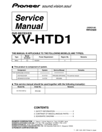 Service Manual Pioneer XV-HTD1