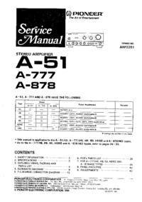 Руководство по техническому обслуживанию Pioneer A-51