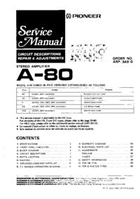manuel de réparation Pioneer A-80