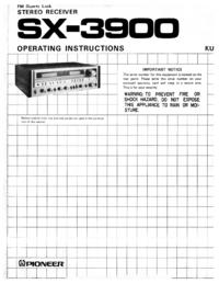 Manual do Usuário Pioneer SX-3900