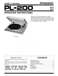 User Manual Pioneer PL-200