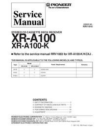manuel de réparation Pioneer XR-A100