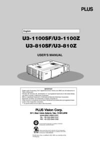 User Manual PlusVision U3-1100Z