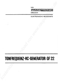 Service and User Manual Pracitronic GF22