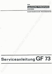 Руководство по техническому обслуживанию Pracitronic GF 73