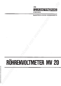 Service and User Manual Pracitronic MV 20
