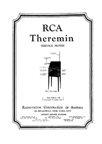 Service and User Manual RCA Theremin