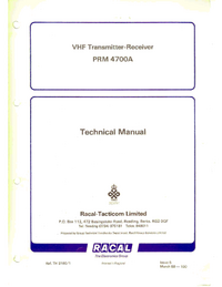 Service Manual Racal PRM 4700A