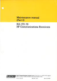 manuel de réparation Racal 1772