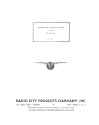 Service and User Manual Radiocit 777A