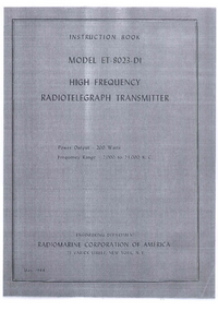 Service and User Manual Radiomar ET-8023-DI