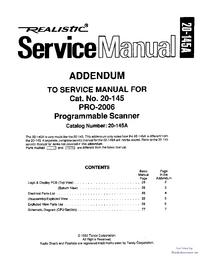 Service Manual Supplement Realistic Pro-2006