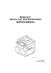 Service Manual Ricoh Model S-C1 (Machine Code: B045/B