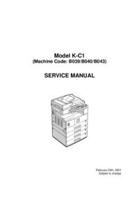 Руководство по техническому обслуживанию Ricoh K-C1