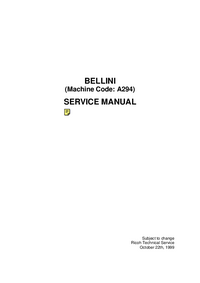 Service Manual Ricoh A294