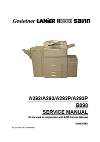 Service Manual Supplement Ricoh Aficio 700