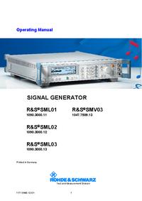 User Manual RohdeUndSchwarz SML01