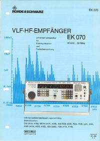 Datasheet RohdeUndSchwarz EK 070
