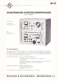 Datasheet RohdeUndSchwarz EK 10