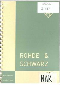 Manuel de l'utilisateur et Schéma cirquit RohdeUndSchwarz NAK 3