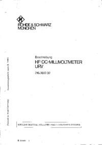 Service et Manuel de l'utilisateur RohdeUndSchwarz URV 216.3612.02