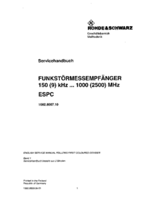 Service Manual RohdeUndSchwarz ESPC 1082.8007.10