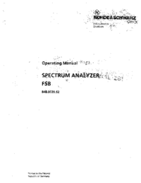 User Manual RohdeUndSchwarz FSB 848.0020.52