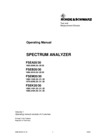 User Manual RohdeUndSchwarz FSEB30 1066.3010.20/.25/35