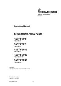 Manuel de l'utilisateur RohdeUndSchwarz FSP7 1164.4391.07