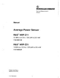 Manuel de l'utilisateur RohdeUndSchwarz NRP-Z21 1137.6000.02