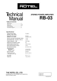 Instrukcja serwisowa Rotel RB-03