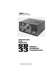 Serviço e Manual do Usuário SBE SB 33