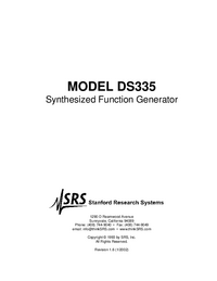 Service and User Manual SRS DS335