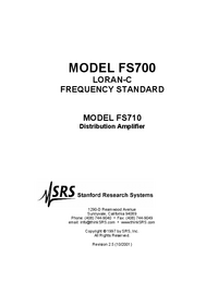 Servicio y Manual del usuario SRS FS710