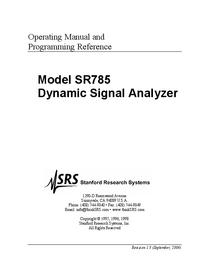 Manuel de l'utilisateur SRS SR785