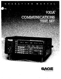Manuel de l'utilisateur Sage 930A